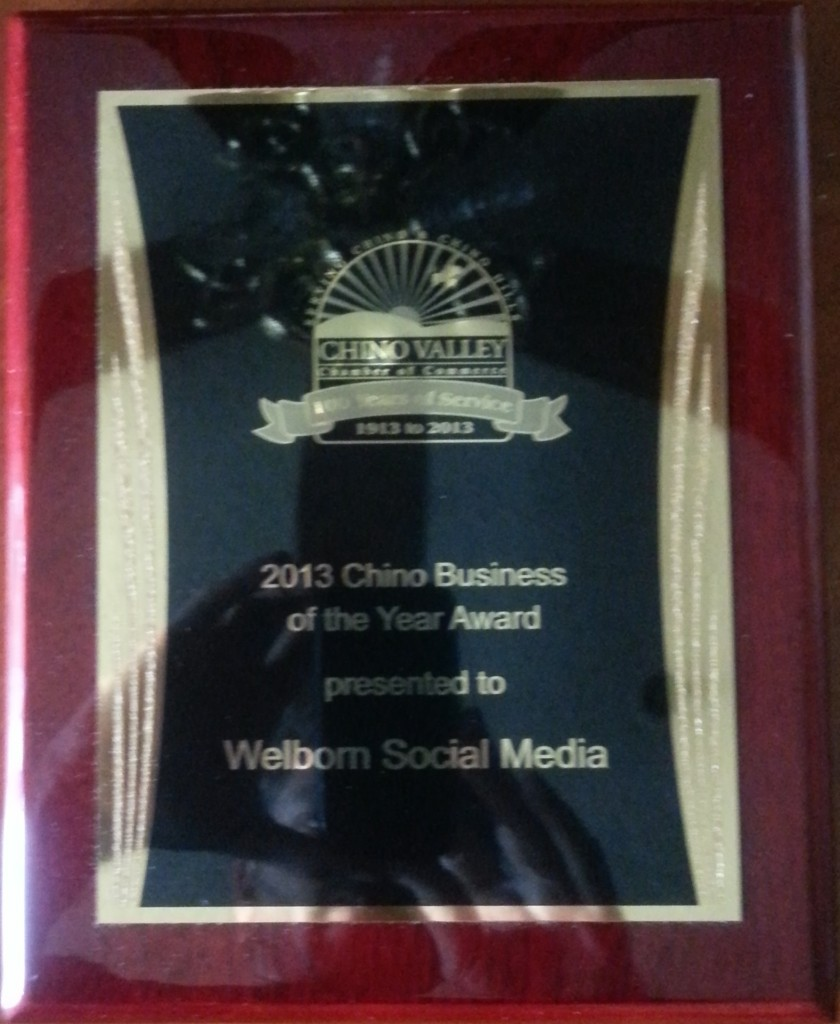 Welborn Social Media Named 2013 Chino Business of the Year
