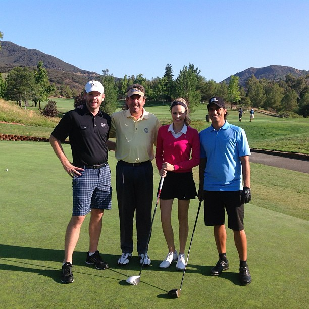 Zeb Welborn, Jay Miller, Alexandra O'Laughlin and Johnny Hakim at a Greenskeeper.org Golf Tournament at Malibu Golf Club